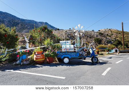 Zenia Greece - October 15 2016: Olive Tree roadside cafe on the serpentine road to the Lassithi Plateau