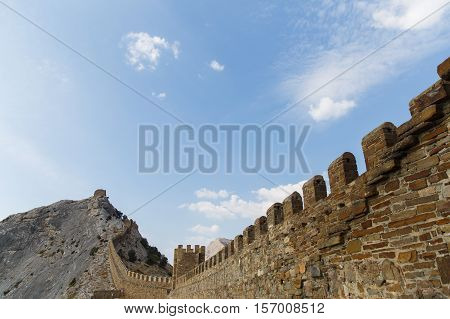 Russia. Crimea. Sudak. Genoese fortress with views of mountain .14.09.2016