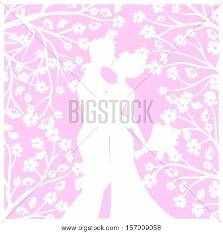 Wedding card template with groom and bride for laser cutting
