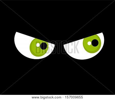 Angry green eyes in darkness. Halloween illustration