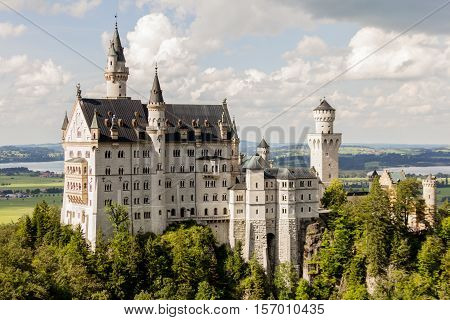 Neuschwanstein castle side view - fair and fables concept