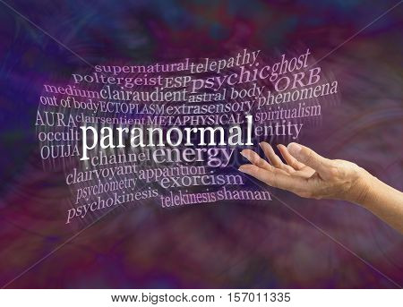 Paranormal Phenomena Word Cloud - female hand gesturing towards the word PARANORMAL surrounded by a moving word cloud on a dark energy formation background with copy space