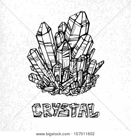 linear illustration of crystal with the inscription on a white background. Element for design, vector