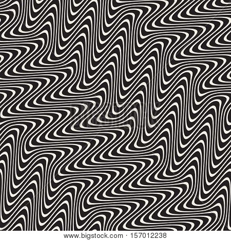 Wavy Lines Marbelling Effect. Abstract Geometric Background Design. Vector Seamless Black and White Pattern.