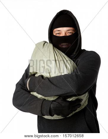 Burglar is holding large bag