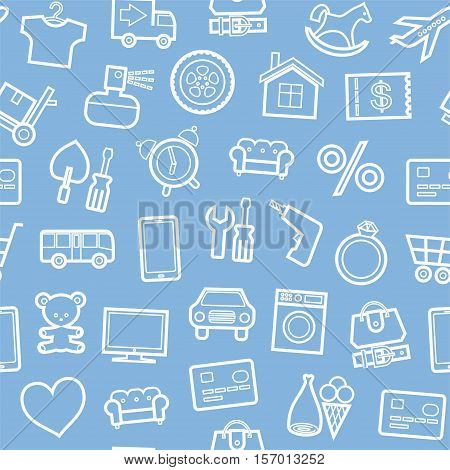 Categories of goods, Internet-shop, seamless background, light blue. Vector white outline icons industrial products on a light blue background. Plain, flat background.