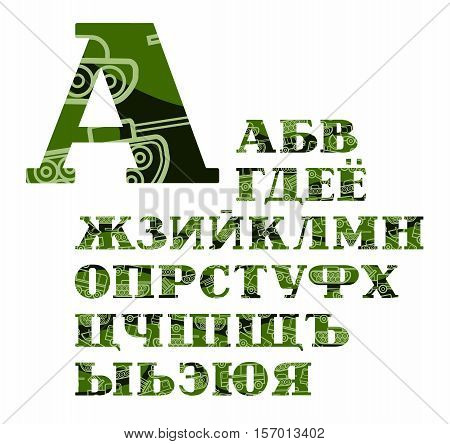 Russian alphabet, military equipment, uppercase, vector, font, color. Green, in all uppercase letters of the Russian alphabet with linear images of military equipment. Letters with serifs. Military disguise.
