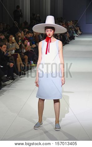 KYIV, UKRAINE - OCTOBER 13, 2016: Model walks the runway at Marina Rybalko collection show during the 39th Ukrainian Fashion Week at Mystetsky Arsenal in Kyiv