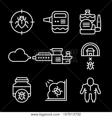 Set line icons of disinfestations isolated on black. Vector illustration