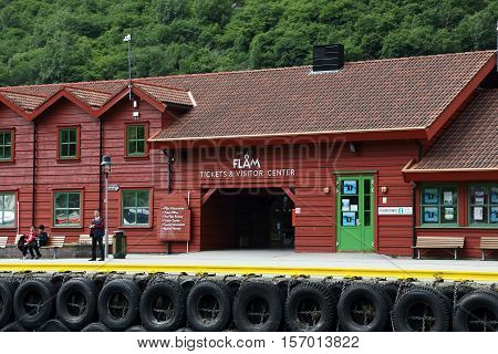 FLAM, NORWAY - JULY 3, 2016: This is ferry wharf and at the same time the building of the train station and visitor center.