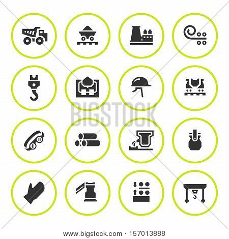 Set round icons of metallurgy isolated on white. Vector illustration