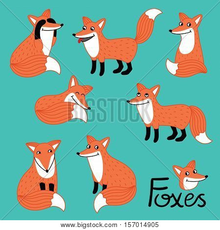 Funny little fox hand drawn characters set isolated vector illustration. Forest animal. Joy, happy, humor, greeting, pleasure, surprise, relaxation emotions. Activities fox with different emotions.