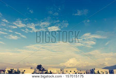 Apartments (condo) And Beautiful Blue Sky .
