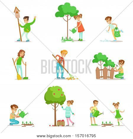 Children Helping In Eco-Friendly Gardening, Collecting Fruit, Cleaning Up Outdoors, Recycling The Garbage And Watering Sprouts. Happy Kids Interacting With Nature And Participating In Garden Clean-up Procedures Set Of Vector Illustrations.