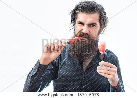 Bearded Man With Alcoholic Shot