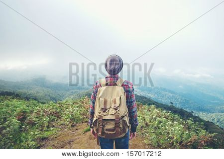 Man Relaxing Alone Travel Healthy Lifestyle Concept Lake And Mountains