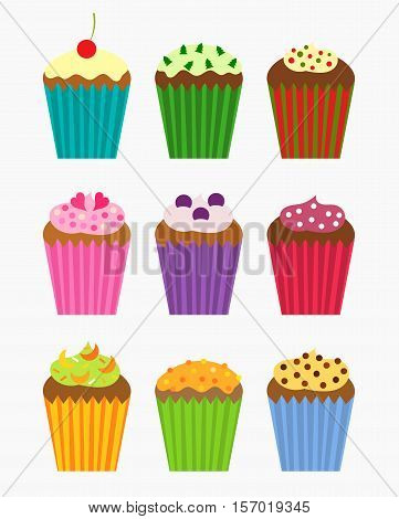Various flavors of cupcakes - vector collection