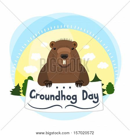 Cute groundhog. Vector illustration with grounhog. Cute marmot. Greeting Card Groundhog Day. Marmot holding in the paws of the plate. Sun, clouds, trees, nature, forest. Hand drawing.