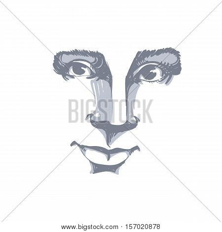 Vector Monochrome Art Drawing, Portrait Of Gorgeous Dreamy Girl Isolated On White. Facial Expression