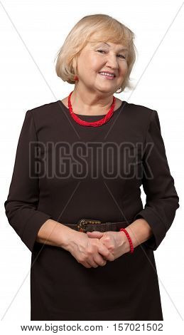 Friendly Old Woman Standing with Hands Clasped - Isolated