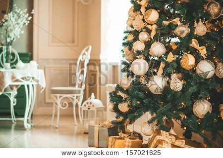 Beautiful Background Living New Year Room With Decorated Christmas Tree And Gifts.  The Idea For Pos