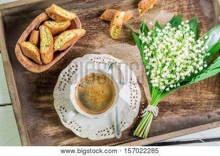 Sweet Cantucci With Coffee On Old Wooden Table
