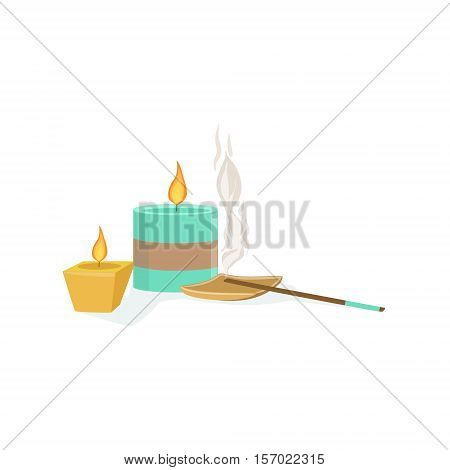 Set Of Meditaion Oriental Decorations With Scented Candles And Smoking Sticks Element Of Spa Center Health And Beauty Procedures Collection Of Illustrations. Realistic Vector Objects Symbols Of Beautifying Treatments On White Background.