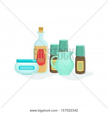 Natural Cosmetics And Skincare Product Line Element Of Spa Center Health And Beauty Procedures Collection Of Illustrations. Realistic Vector Objects Symbols Of Beautifying Treatments On White Background.