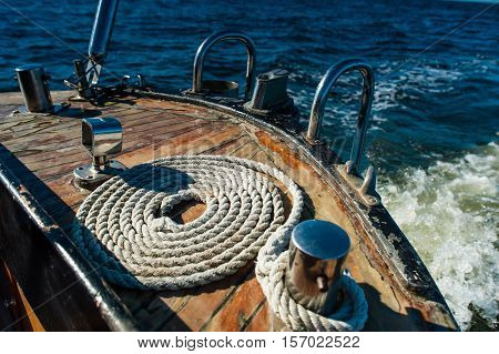Sailing boat in the sea. Boating detail.
