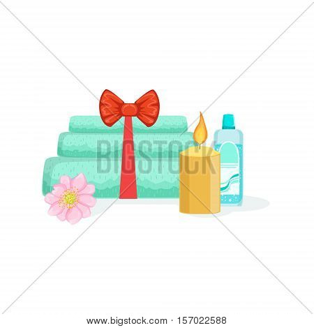 Towels, Candle And Bottle With Skincare Product Element Of Spa Center Health And Beauty Procedures Collection Of Illustrations. Realistic Vector Objects Symbols Of Beautifying Treatments On White Background.