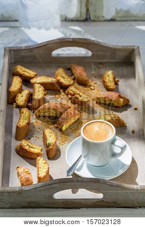 Italian Cantuccini With Espresso On Old Wooden Table