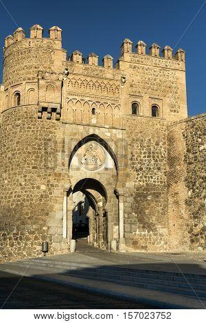 Toledo (Castilla-La Mancha Spain): the medieval door known as Puerta de Valmardon