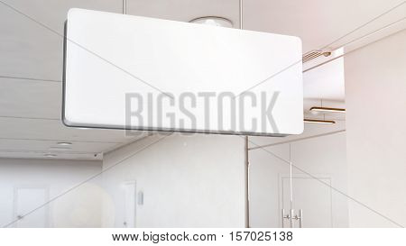 Blank white light signage mockup hanging on ceiling clipping path 3d rendering. Empty lightbox mock up near office and store doors. Navigtion plastic illuminated sign template top mounted.