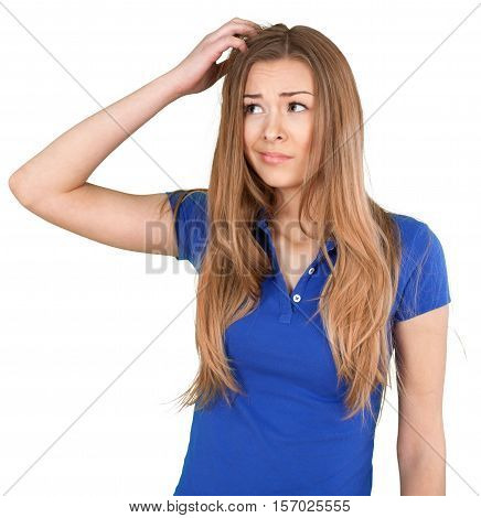 Thoughtful Young Woman Scratching Her Head - Isolated