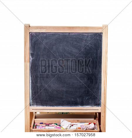 Empty Wooden Black Board with chalks in White Background copy space