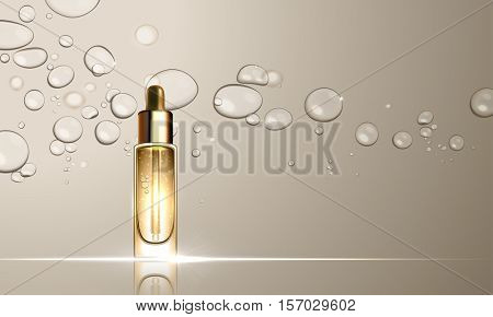 3D dropper bottle of collagen hydration moisturizer. Face skincare premium ad design template. Gold water, oil drops background. Vector illustration