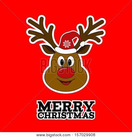 Rudolph reindeer. Merry Christmas. Santa Claus's reindeer. Sticker.