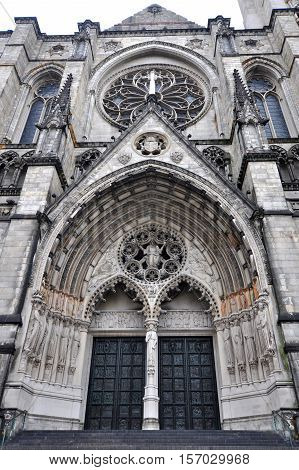 Cathedral of St. John the Divine Main entrance in Upper Manhattan, New York City, USA.