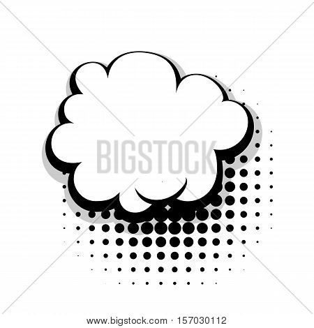 Blank template comic speech cloud bubble halftone dot background style pop art. Comic dialog empty cloud, space text style pop art. Creative composition idea conversation comic sketch explosion