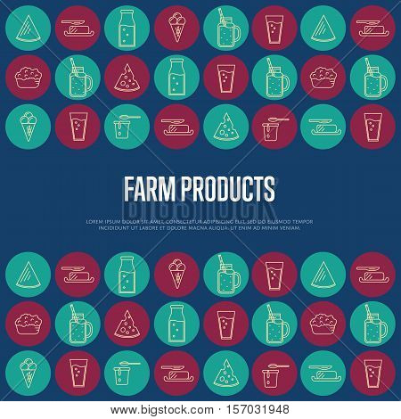 Farm products banner with different dairy round icons and space for text, vector illustration. Nutritious and healthy products. Organic farming. Natural and healthy food. Blue dairy background