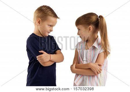 conflicts between little children. quarrels and offense