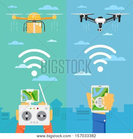 Drone technology banner with remotely controlled flying robots in city vector illustration. Multicopter piloting with tablet or smartphone. Unmanned aerial vehicle. Modern flying device with camera.