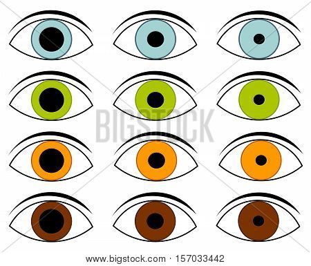 Collection of eyes in different colors and pupils