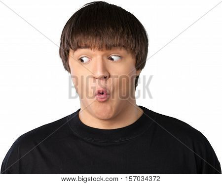 Portrait of a Surprised Young Man Looking Sideways