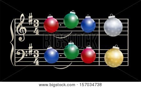 Colorful baubles instead of notes - musical notation on black background.