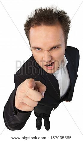 Young Man In Suit Arguing Top-down View - Isolated