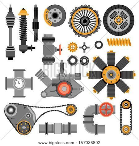 Machinery parts set with different industrial and technical elements on white background isolated vector illustration