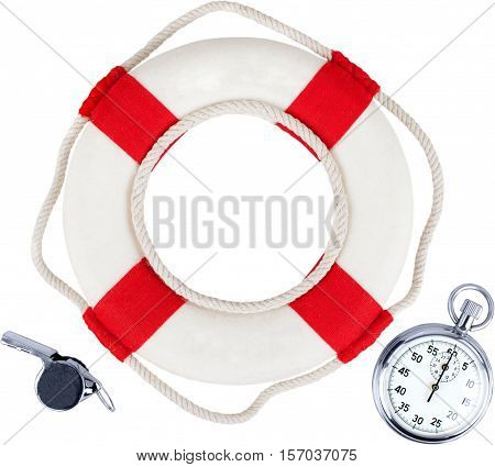 Life ring with a stop watch in it