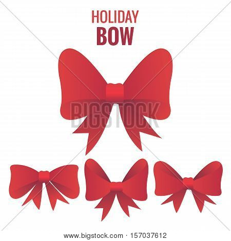 Gift bow for holidays. Four different shapes of bow