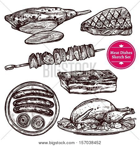 Meat dishes set with sausages wurst steak chicken barbecue beef in sketch style isolated vector illustration